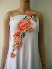 VT368 Orange Tier Flower Peony Lace Venise Applique Motif Sew On Dress