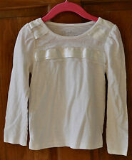 Girl's Ivory Fancy T-Shirt ADORABLE w/ satin ribbon & lace Size 5T