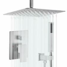 12'' Shower System Ceiling Brushed Nickel Shower Faucet Set W/ Rain Shower Head