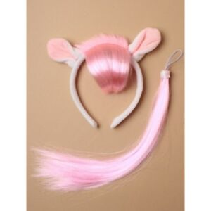 Pink Pony Fancy Dress  White Pink Headband And Pink Coloured Tail, fancy dress