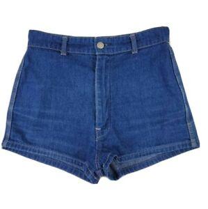 """Vintage Size 12 (Suit 6-8 XS) Blues Union Denim Shorts 27"""" Blue Hot Pants 80s"""