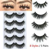 5 Pairs 100% Real Mink Long Thick False Eyelashes 3D Wispy Strip Eye Lashes Set