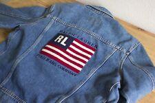 Vintage Women's RALPH LAUREN POLO JEANS USA Flag Denim Jean Jacket Sz Large