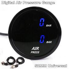 52mm Blue LED Air Pressure Gauge Air Suspension Ride Gauge w/ Electrical Sensors