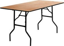 (5 Pack) 30'' x 60'' Rectangular Wood Folding Banquet Table w/ Clear Coated Top