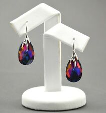 925 Silver Earrings made with Swarovski Crystals 22mm PEAR - Volcano