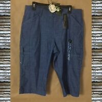 LEE Women Blue Chambray Bermuda Shorts Flex-To-Go Mid Rise Relaxed Fit Sz16 NWT