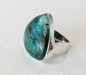 40% SALE! Genuine SS Azurite Malachite Teardrop Shape Ring RRP $329.95