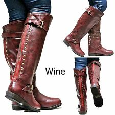 New Women GJa1 16.5 in. Wider Calf Wine Studded Riding Knee High Boot sz 6 to 10