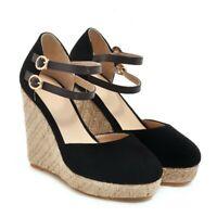 Women's Sandals Platform 11cm Wedge Heel Shoes Close Toe Strap Buckle Ankle New