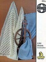 Sirdar 3220 Vintage Knitting/Crochet Pattern 4 ply Baby Shawls Blankets