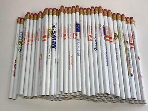 144 Lot Misprint WHITE Pencils with Rubber Eraser #2 Lead, Bulk Wholesale Lot