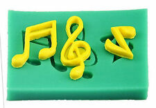 Musical Notes 3 Cavities Green Silicone Mold for Fondant, Chocolate, Crafts NEW