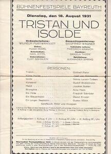 Opera Programme 1931 Bayreuth Festival Tristan und Isolde Wilhelm Furtwängler