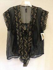 Vintage Alana Gale 2X Black Gold Lace Trim Teddy Peignoir Set Negligee Lingerie