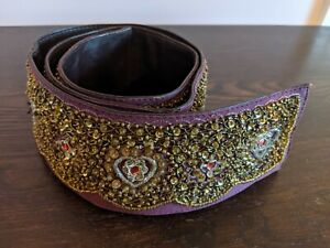 Jigsaw Pink Embellished Leather Belt Size M