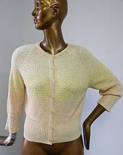 St John Yellow Multi Knit Button Down Sweater 2014 Sz M