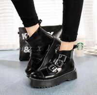 Hot Womens Gothic Rock Platform Motorcycle Ankle Boots Multi Buckle Punk Shoes