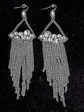 "Silver Tone Long Earrings 4 3/4"" Vintage Dangling Multi Chain and Rhinestone"