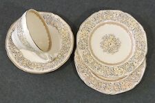 4 Crown Ducal Florentine Cream Cup & Saucer 2 Plates Embossed Rim Scallop Edge