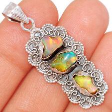 Bali Design - Ethiopian Opal Rough 925 Sterling Silver Pendant Jewelry BP48587