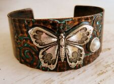 BOHO Copper Patina Verdigris Pearl Detail Metal Butterfly Cuff Bracelet - Silver