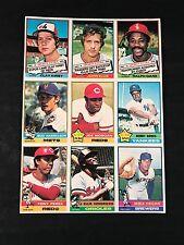 1976 TOPPS BASEBALL - UNCUT SHEET 9 CARDS - JOE MORGAN 420 TONY PEREZ 325 BONDS