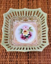 "Vintage Beckwith China Japan Handpainted 5"" Square Dish with Reticulated Frame"