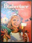 1958 BUDWEISER Beer Big Christmas Tree Woman Drinking Vintage Ad
