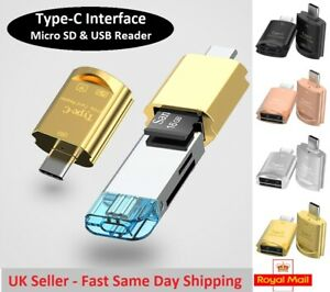 Type-C MicroSD Card & USB Reader for Samsung Galaxy Huawei Android iMac MacBook