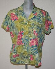 Women's Sag Harbor Sport Hawaiian Shirt Size Large Tropical Flowers/Palm Fronds