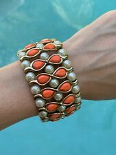 Anna Dello Russo gold, pearl and coral orange cuff