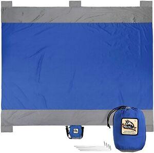 "Wolfyok Outdoor Beach Blanket 108"" X 84"" Oversized Washable Sand Free Picnic Mat"