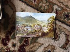 T2-1 postcard unused old llangollen bridge and barbers hill