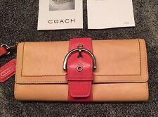 Coach Ltd Ed Natural/Pink Vachetta Lg Clutch Purse Wallet Wristlet WOW! RARE