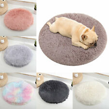 Round Pet Dog Cat Calming Bed Large Mat Comfy Washable Fluffy Cushion Plush