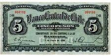 Chile ... P-82 ... 5 Pesos ... 2-Jun-1930 ... *F-VF*.