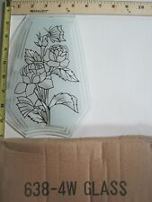 FREE US SHIP OK Touch Lamp Replacement Glass Panel Flowers and Plant 638-4W