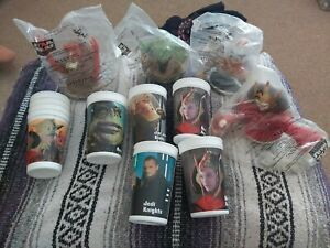 STAR WARS EPISODE 1 3-D CUP TOPPERS x4 WITH CUPS MINT BAGGED 1999 VERY RARE