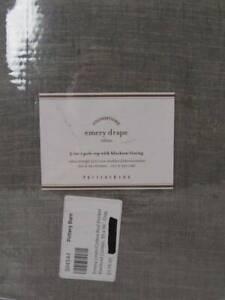 "Pottery Barn 1 Emery Linen/Cotton Rod Pocket Blackout Curtain 50""x 96"" Gray, Nwt"