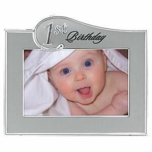 Malden International Designs 1st Birthday Two Tone Picture Frame, 4x6, Sliver