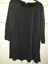 Beautiful Black & Silver Top Size 18 Cotton Traders