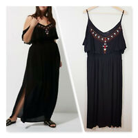 [ RIVER ISLAND ] Womens Black Embroidered Maxi Dress | Size AU 16 or US 12