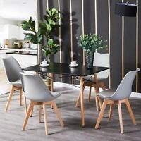 Mehrfarbig Rechteckig Esstisch Buchenholz mit 4 Stühle Retro Esszimmertisch MDF