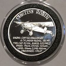 1989 Curtiss Robin Airplane Expo Coeur D'Alene 1 Troy Oz .999 Fine Silver Round