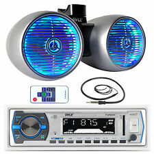 "PLMRB29W USB Marine Bluetooth Radio, Antenna, 8""Silver LED Marine Tower Speakers"