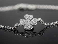 Echt 925 Silber Kleeblatt Armband Damenarmband Zirkonia Steinen