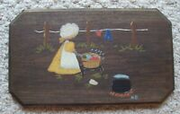 Vintage Wooden Wall Hanging Hand Painted Country Folk Art Decor Doing Washing