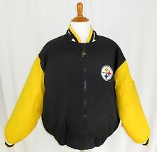 Pittsburgh Steelers NFL Football Quilted Puffer Coat Jacket Reversible Mens L