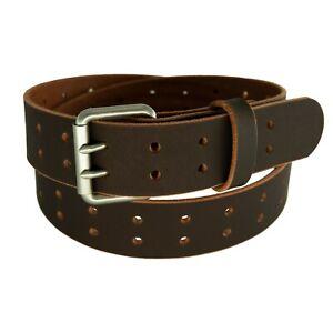 "Men's Buffalo Leather Belt, Double Prong_2 Hole_1 1/2"" width_Amish Handmade"